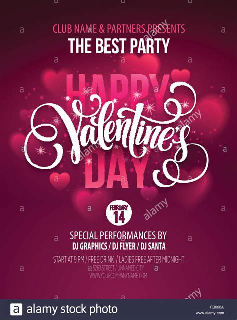 Valentines Day Party Poster Design. Template of invitation ...