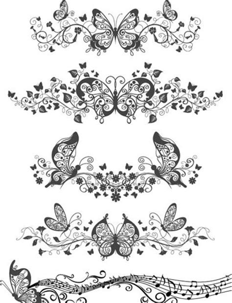 floral  butterfly patterns  vector art