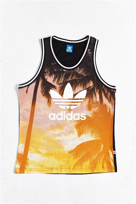 lyst adidas originals palm print mesh tank top men