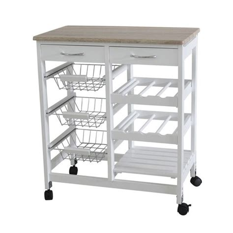 kitchen cart with wine storage shop home basics white oak 2 drawer kitchen trolley with 8193