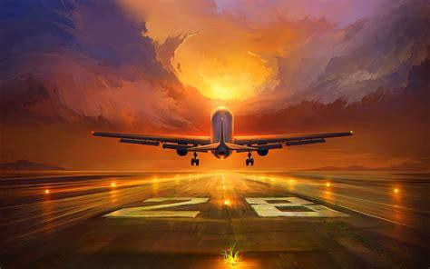 Download wallpaper 1920x1200 plane, runway, art, sunset ...