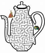 Tea Coloring Princess Teapot Printable Maze Labyrinthe Mazes Chaleira Gambar Labirinto Activities Labirinti Mencari Printables Jalan Activity Parties Shaped Permainan sketch template