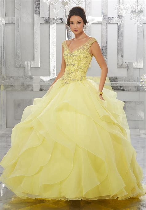 flounced organza ball gown  beaded embroidery style