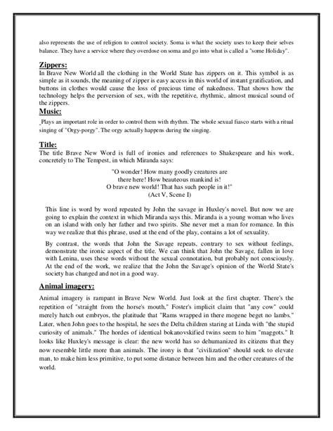 Creative Essay On Brave New World by Essay Topics Brave New World