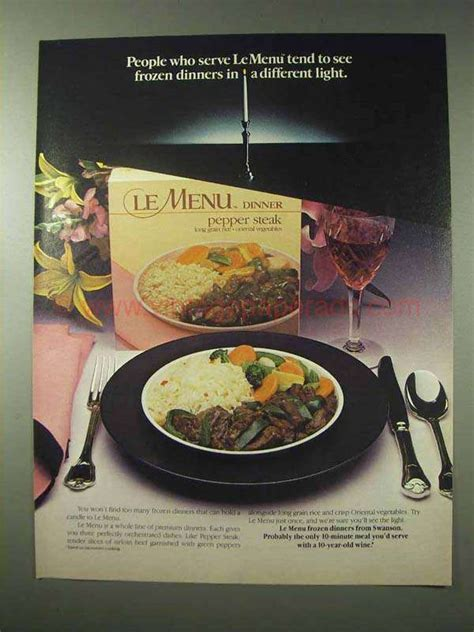 cuisine tv menut 1984 swanson le menu frozen dinners ad different