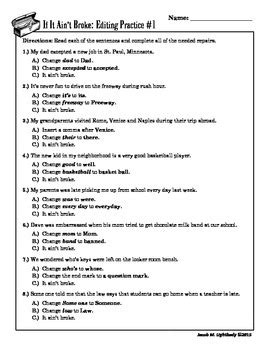 if it ain t multiple choice editing practice worksheets tpt