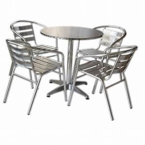 Set tavolo bar + 4 sedie in alluminio impilabili San Marco