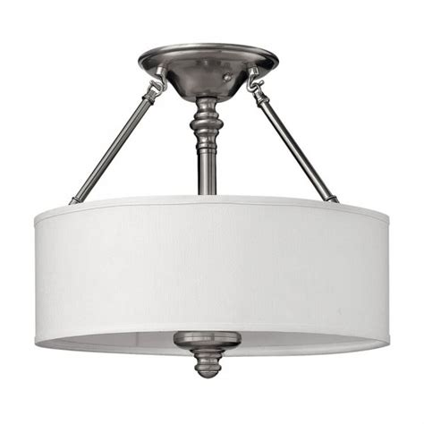 semi flush low ceiling light on pewter frame with white