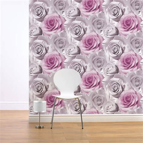 Teal Living Room Accessories by Muriva Madison Rose Floral Bloom Wallpaper Pink