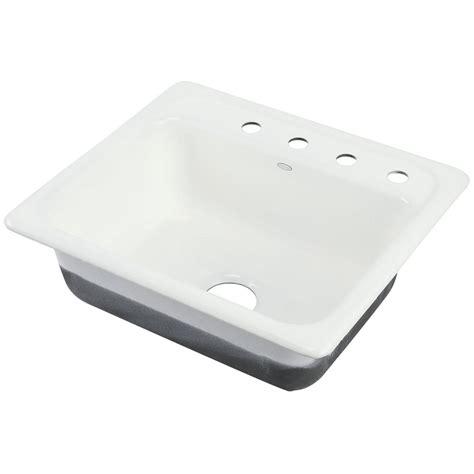 kohler mayfield drop  cast iron    hole single basin kitchen sink  white
