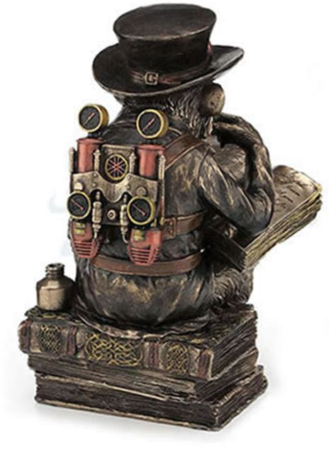 steampunk scholar chimpanzee statue stu home aawua