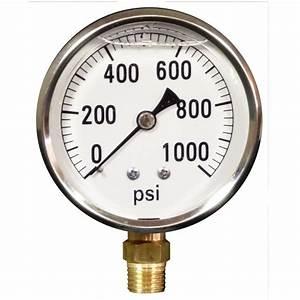 Pressure Gauge  0-1000 Psi  Bottom Mount