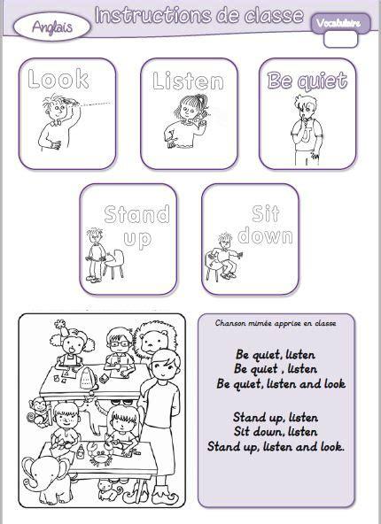 Anglais  Vocabulaire  Consignes De Classe  Journal D'une Pe Ordinaire