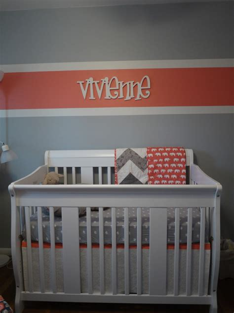 modern baby nursery bedding vivienne 39 s coral and gray nursery project nursery