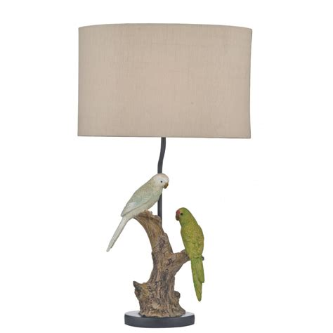 Decorative Budgie Table Lamp With Shade  Double Insulated