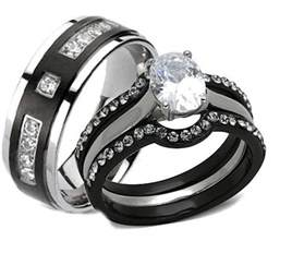 black wedding ring sets his and hers wedding rings 4 pc black stainless steel titanium matching set ebay