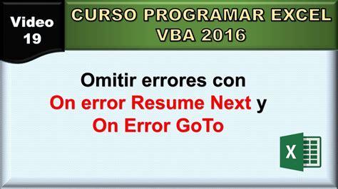 19 curso excel vba 2016 omitir errores on error resume