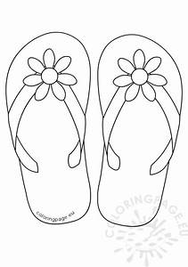 flip flops daisy flower button coloring page With flip flops