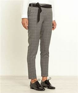 pantalon femme 7 8 imprime carreaux gris mode With pantalon a carreau femme