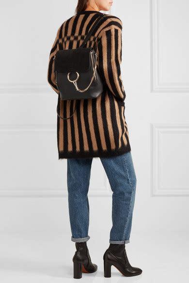 chloe faye medium textured leather  suede backpack
