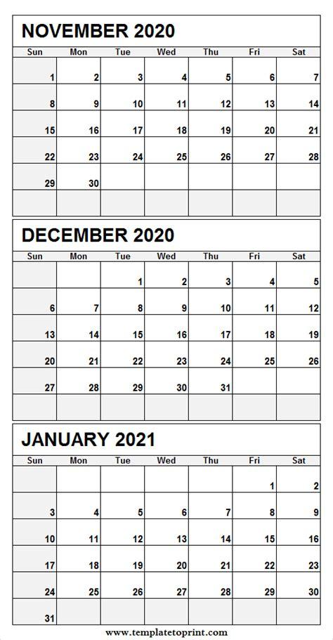 print  november   january  calendar