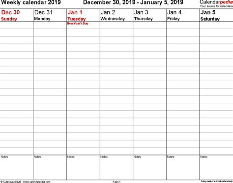 weekly calendar printable templates