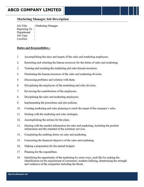 Marketing Manager Resume Description by Marketing Manager Description