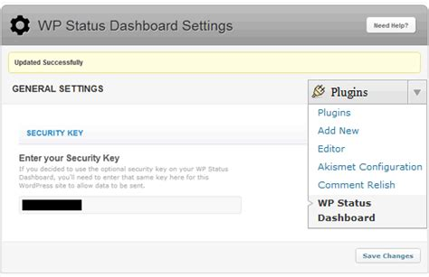 Wordpress Status Dashboard