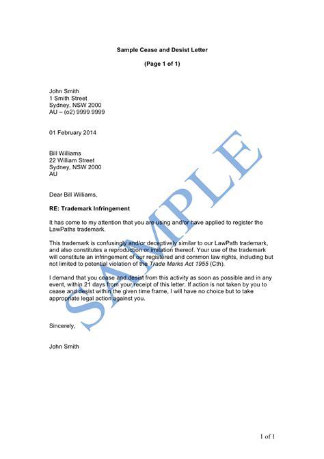Cease And Desist Letter Template Australia cease and desist letter sle lawpath