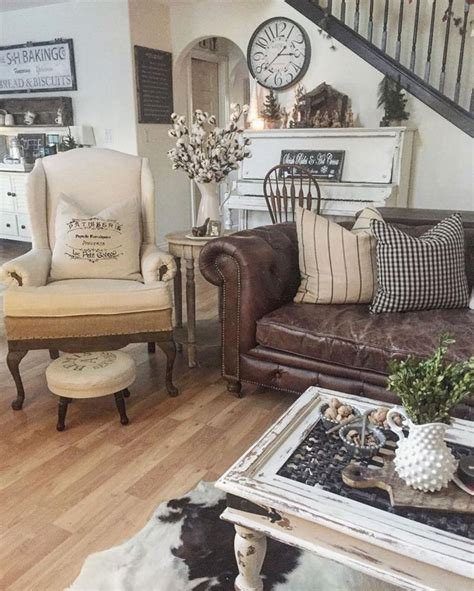 Decorating Ideas For Leather Living Room by 24 Top Country Style Rooms Ideas For A Cozy Home 24 Spaces
