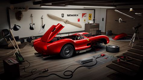 wallpaper ferrari  testa rossa garage guitars spacex