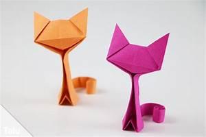 Basteln Mit Papier Anleitung : origami katze basteln anleitung zum falten aus papier geldschein ~ Frokenaadalensverden.com Haus und Dekorationen