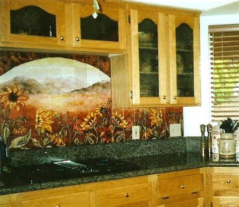 kitchen tile murals backsplash sunflower kitchen backsplashes tile murals products i 6275