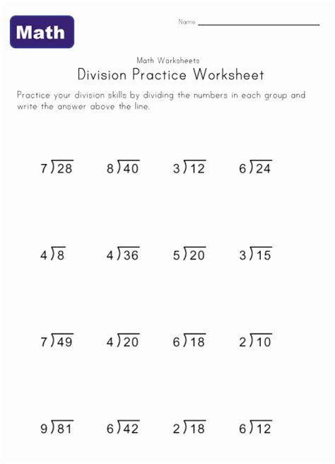 bureau simple simple division worksheets learning station