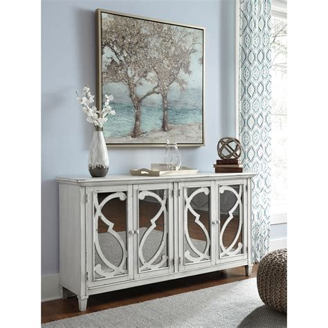 door accent cabinet in gray finish with mirror doors by signature design by wolf furniture