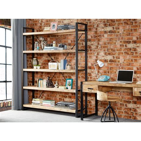 cycled industrial mintis extra large open bookcase