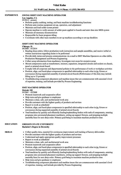 Operator Resume by Smt Machine Operator Resume Sles Velvet