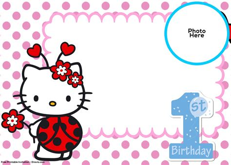 kitty st birthday invitation template drevio