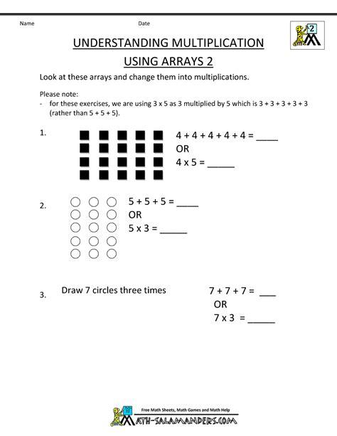 second grade multiplication worksheets understanding