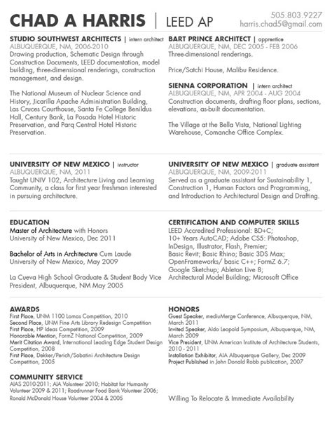Project List Resume resume chad harris archinect