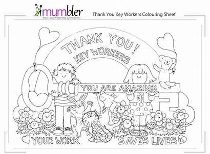 Thank Colouring Key Mumbler Workers Worker Sheets