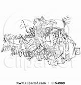 Stagecoach Horse Clipart Drawn Crowded Retro Vector Royalty Prawny Wagon Coach Horses Cartoon Illustrations Driver Carriage Wild West Wall Clipartof sketch template