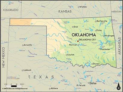 Oklahoma Map Maps Geographical Usa Physical State