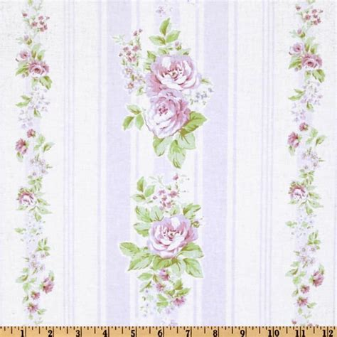 shabby chic fabrics wholesale 5 98 yd treasures by shabby chic garden rose vine stripe white lavender discount designer