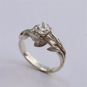 leaves engagement ring no 4 14k white gold and diamond With leaf wedding ring