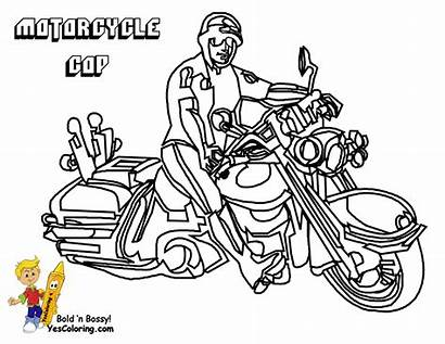 Coloring Pages Police Motorcycle Emergency Transportation Service