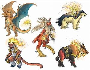 Realistic Pokemon Sketches: Fire Final Evolutions by ...