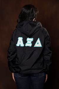 Greek stitched letter rain jacket with monogram sorority for Greek letter rain jacket