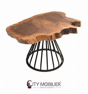 Pied En Fer Forgé : table basse en bois massif et en fer forg wharol city mobilier ~ Teatrodelosmanantiales.com Idées de Décoration