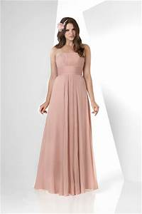 simple a line strapless long peach chiffon draped wedding With peach dress for wedding guest